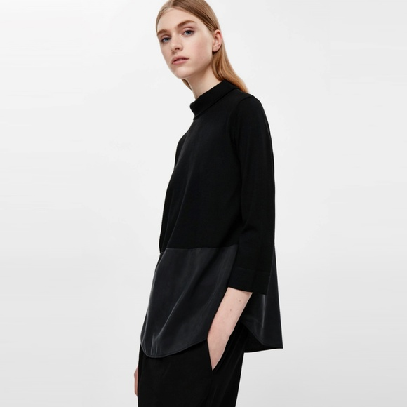 eb9d5514 COS Sweaters | Black Wool And Silk Panel Highneck Jumper | Poshmark